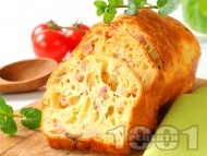 Рецепта Лесен солен кекс с маслини и шунка (с бакпулвер)